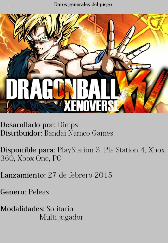Ficha Dragon ball xenoverse